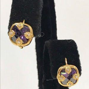 Amethyst Crystal Euro Wire Earring,NWT